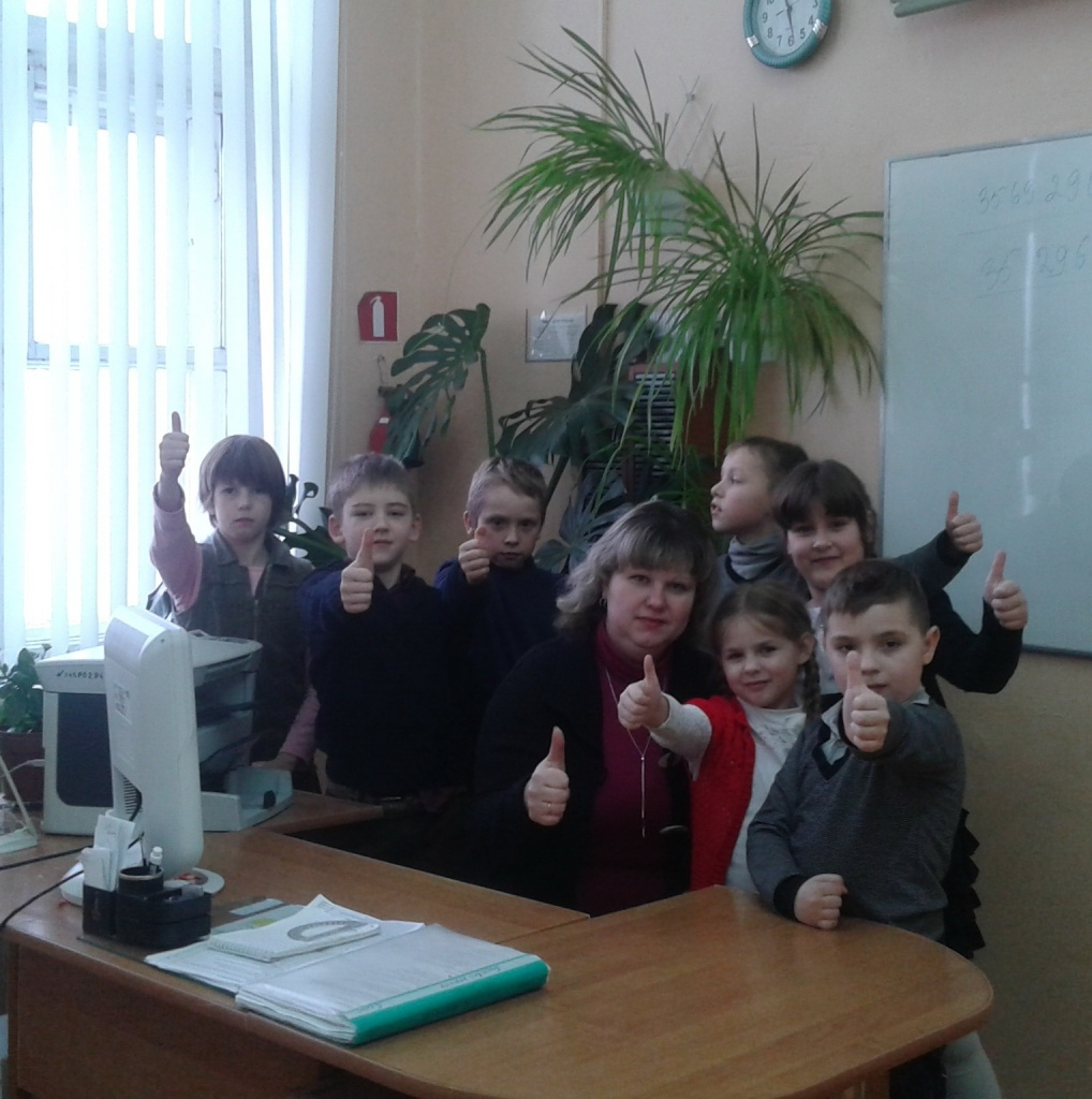 Olga Sheluhovskaya with her students, Orsha Secondary School No.12