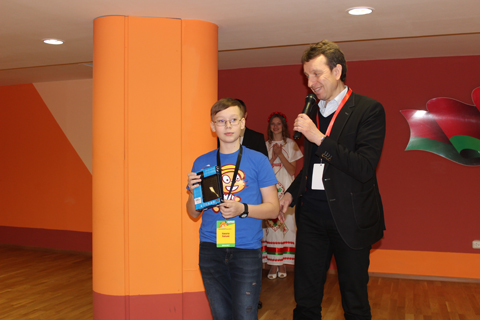 Rector of the Academy of Postgraduate Education Andrei Monastyrski Awarding Nikita Khilko